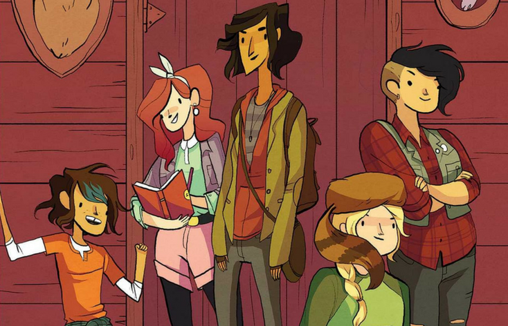 Cover of Lumberjanes: Beware the Kitten Holy, a graphic novel. 5 friends in muted green and red outf