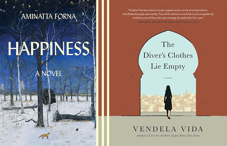 Two book covers show together, one shows trees and a desolate winterscape, the other shows a woman w