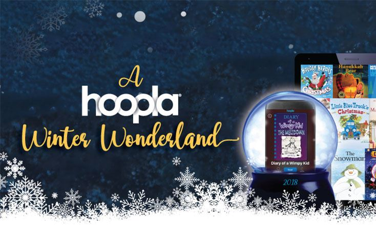Snowglobe with advertisement for Hoopla