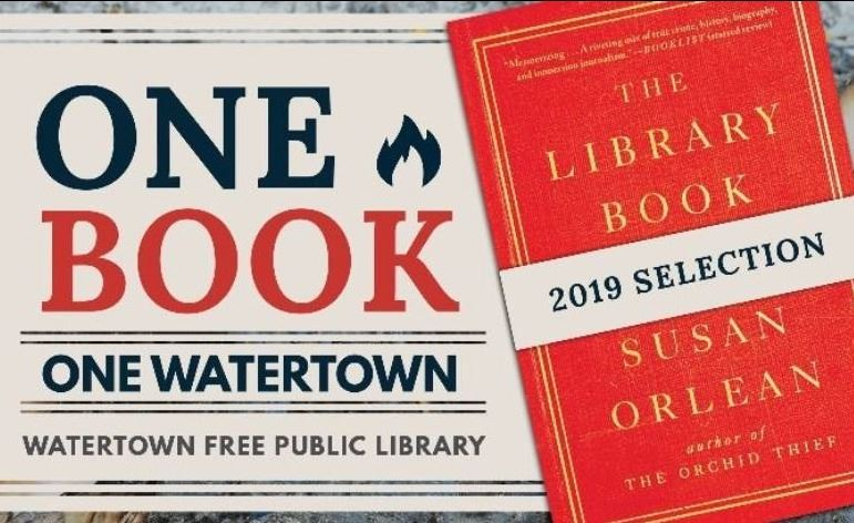 Image of The Library Book book cover with promotion for One Book, One Watertown 2019 program.