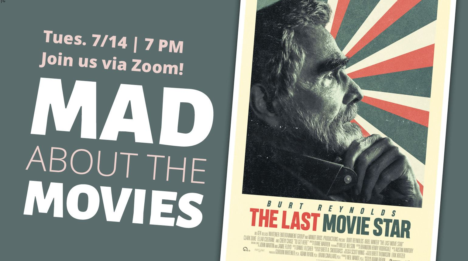 "Banner with the text ""Mad about the Movies: July 14 
