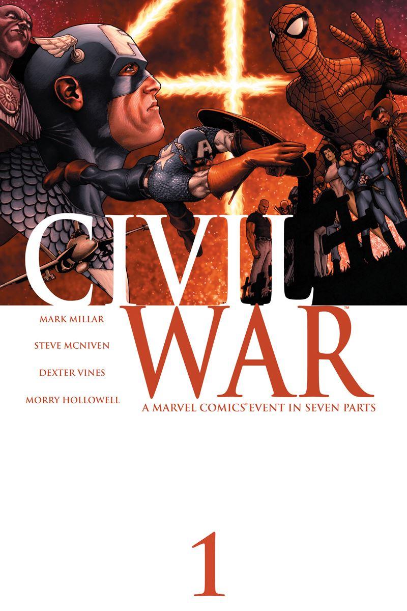 "Book cover for ""CIVIL WAR"" shows two superheros fighting"