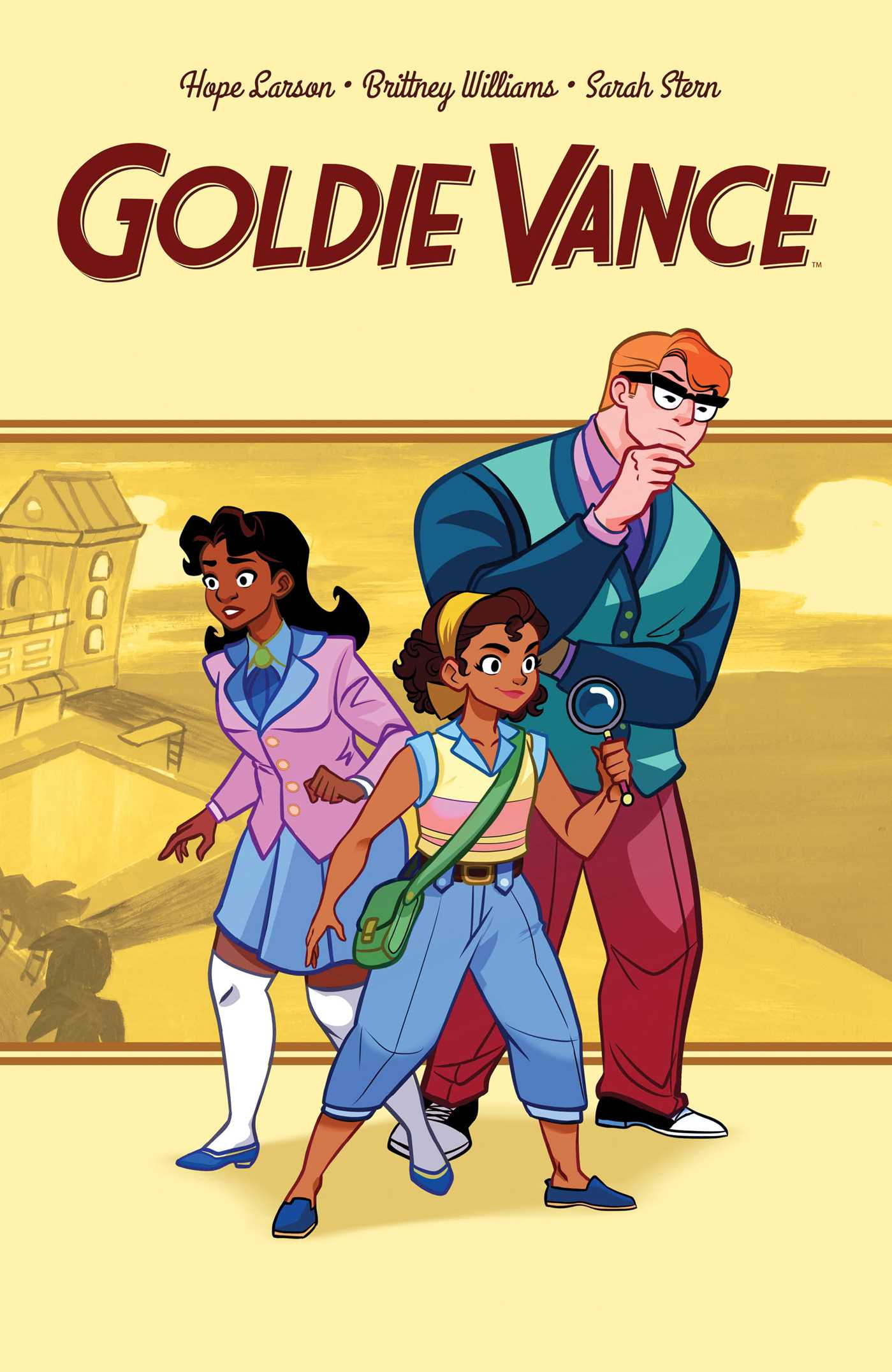 "Book cover for ""Goldie Vance"" shows three people on a yellow background"
