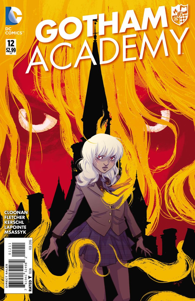 "Book cover for ""Gotham Academy"" shows a person with white hair surrounded by orange flames"