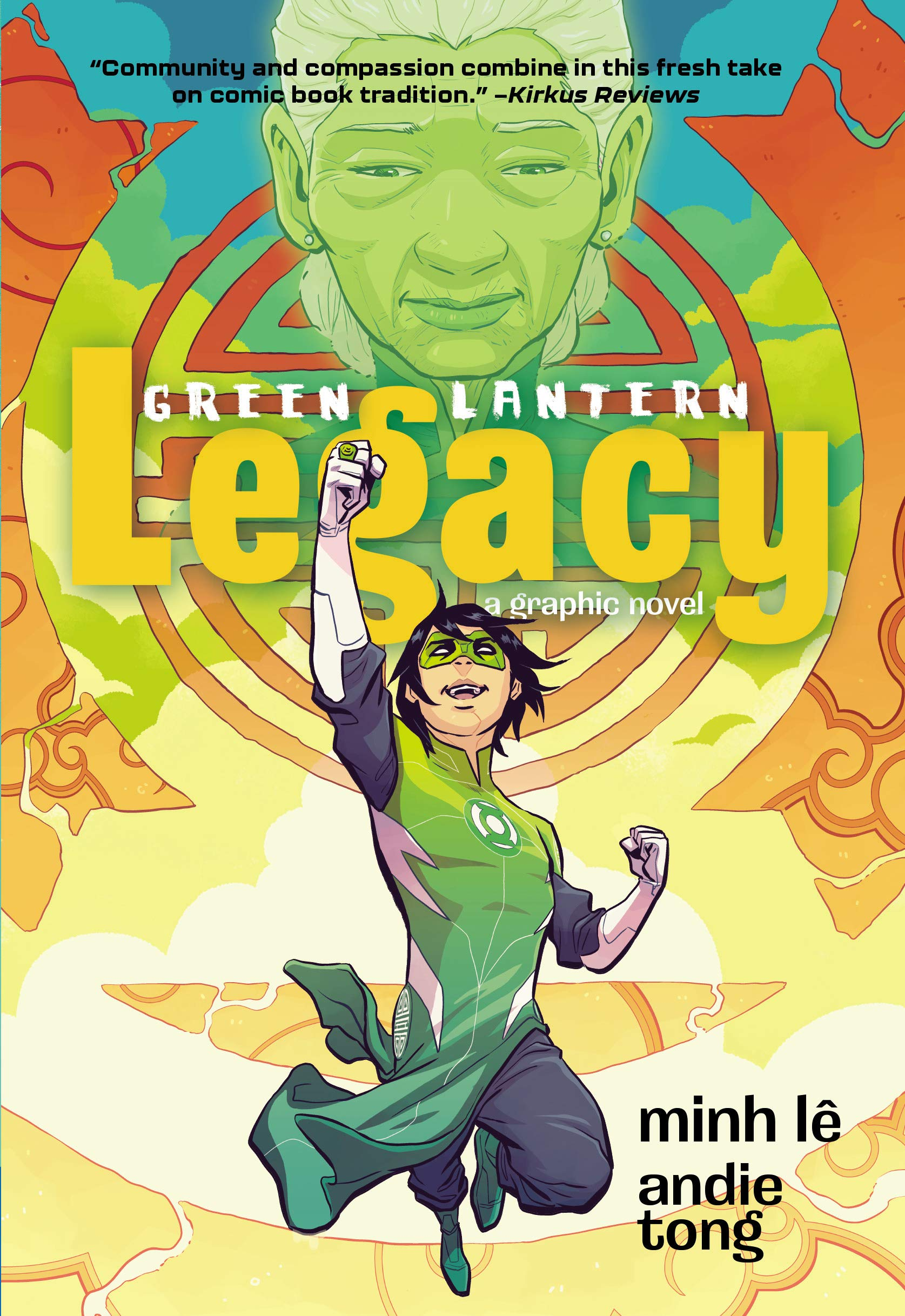 "Book cover for ""Green Lantern Legacy"" shows a person with fist raised"