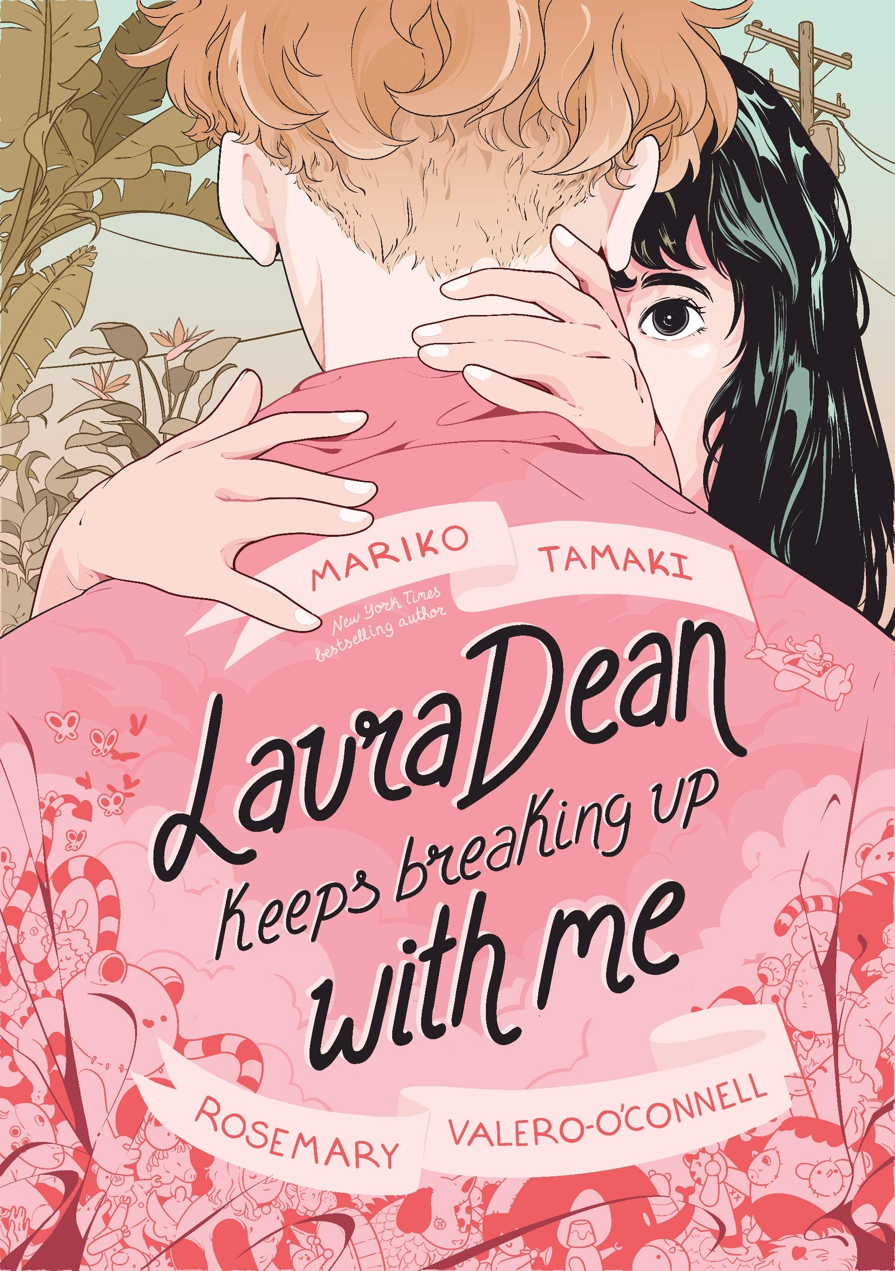 "Book cover for ""Laura Dean Keeps Breaking Up with Me"" shows the back of a person wit a pink ja"