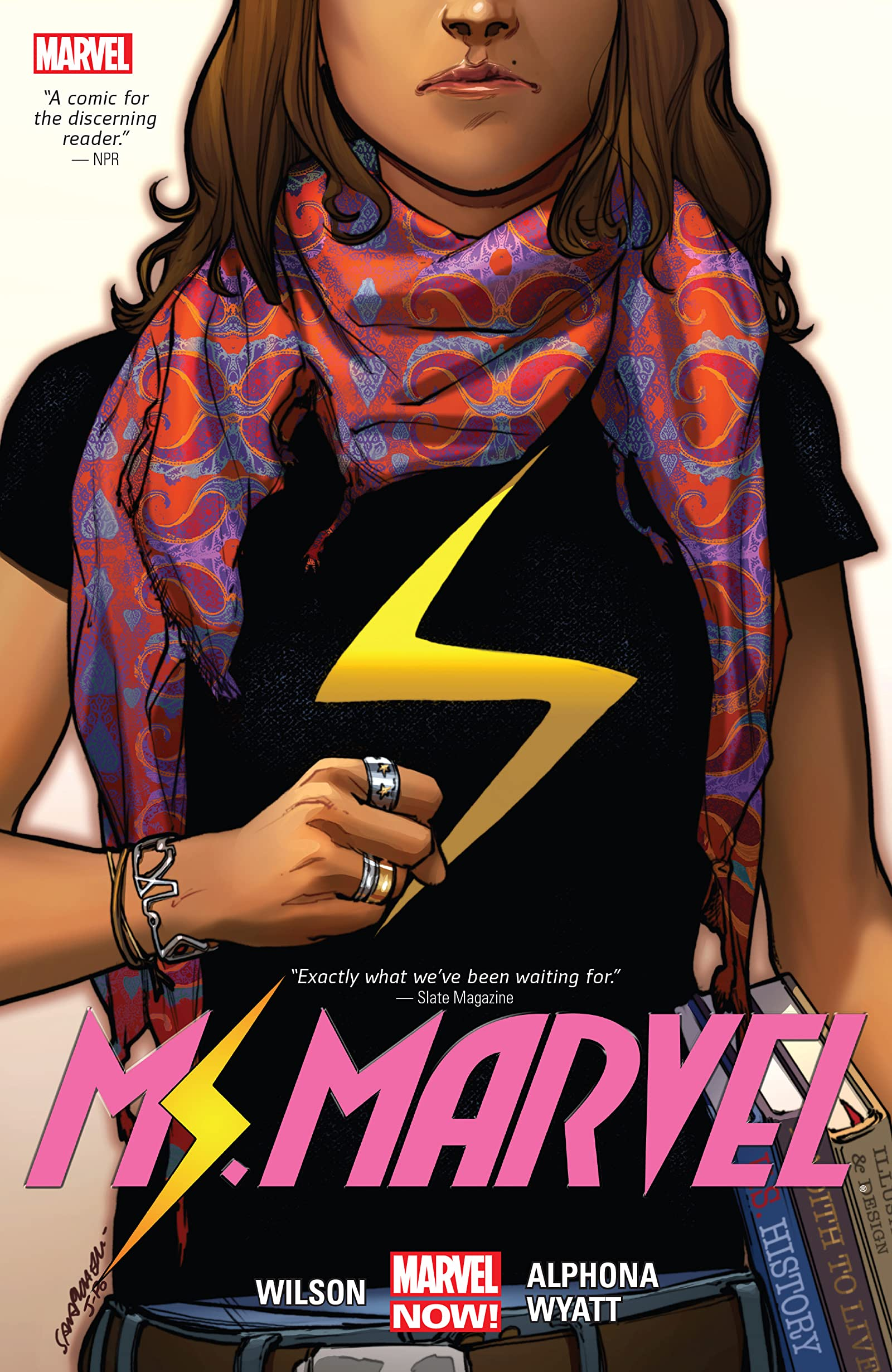 "Book cover for ""Ms. Marvel"" shows a person in a black t-shirt with a lightning bolt"