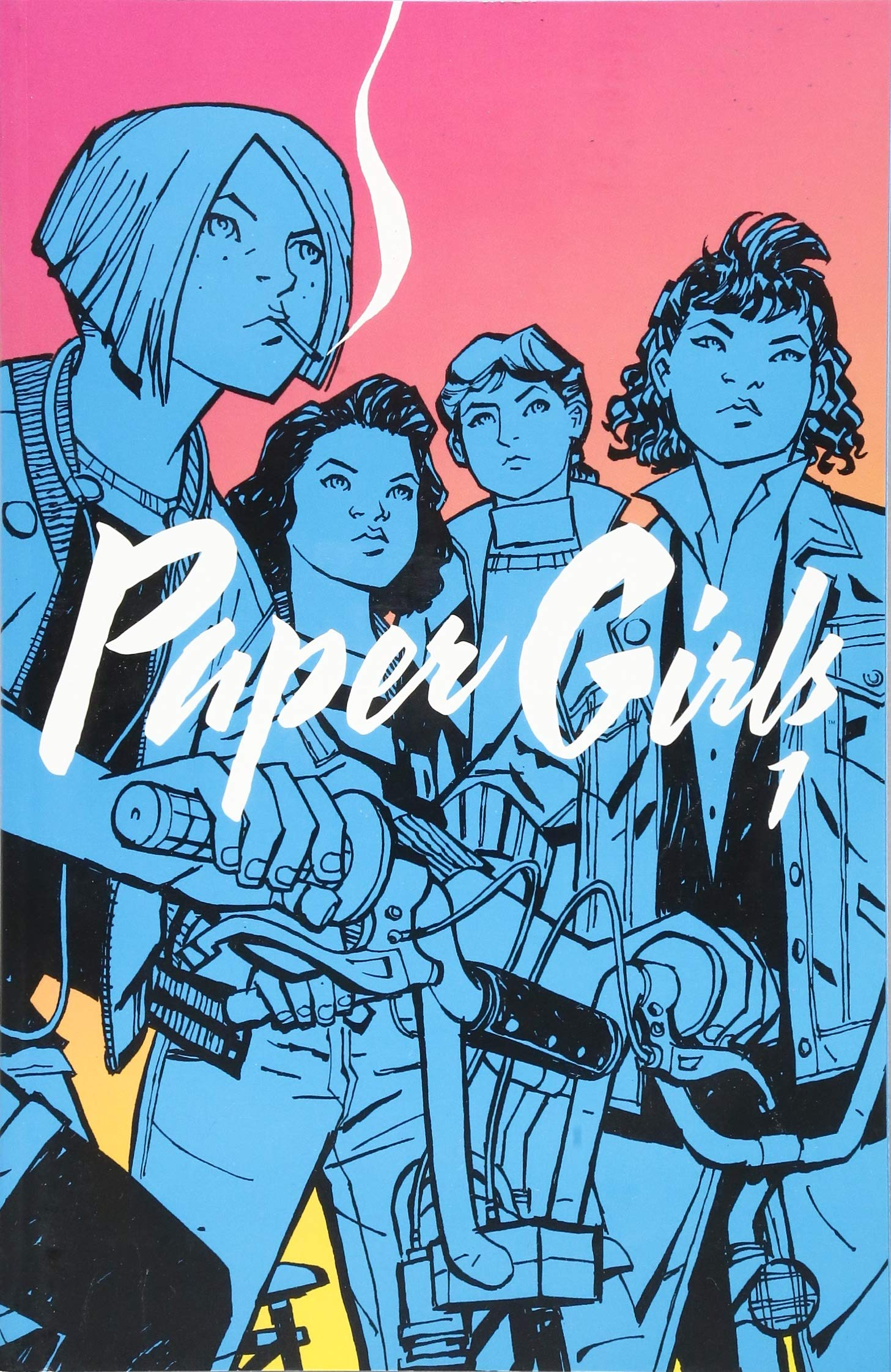 "Book cover for ""PAPERGIRLS Vol. 1"" shows four girls in blue/black ink"