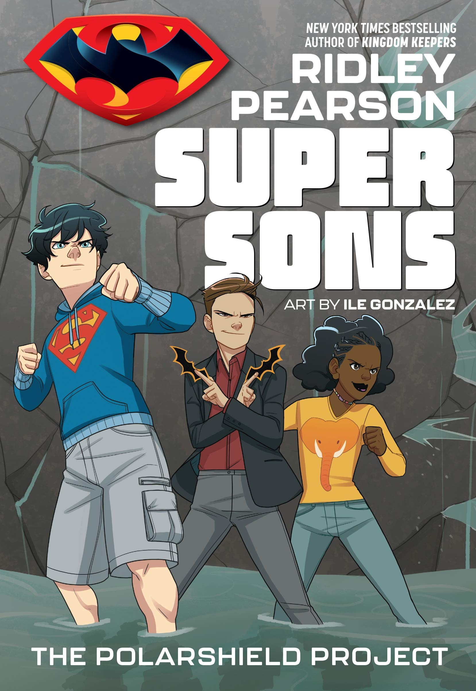 "Book cover for ""SUPERSONS THE POLARSHIELD PROJECT"" shows three young people standing in water"