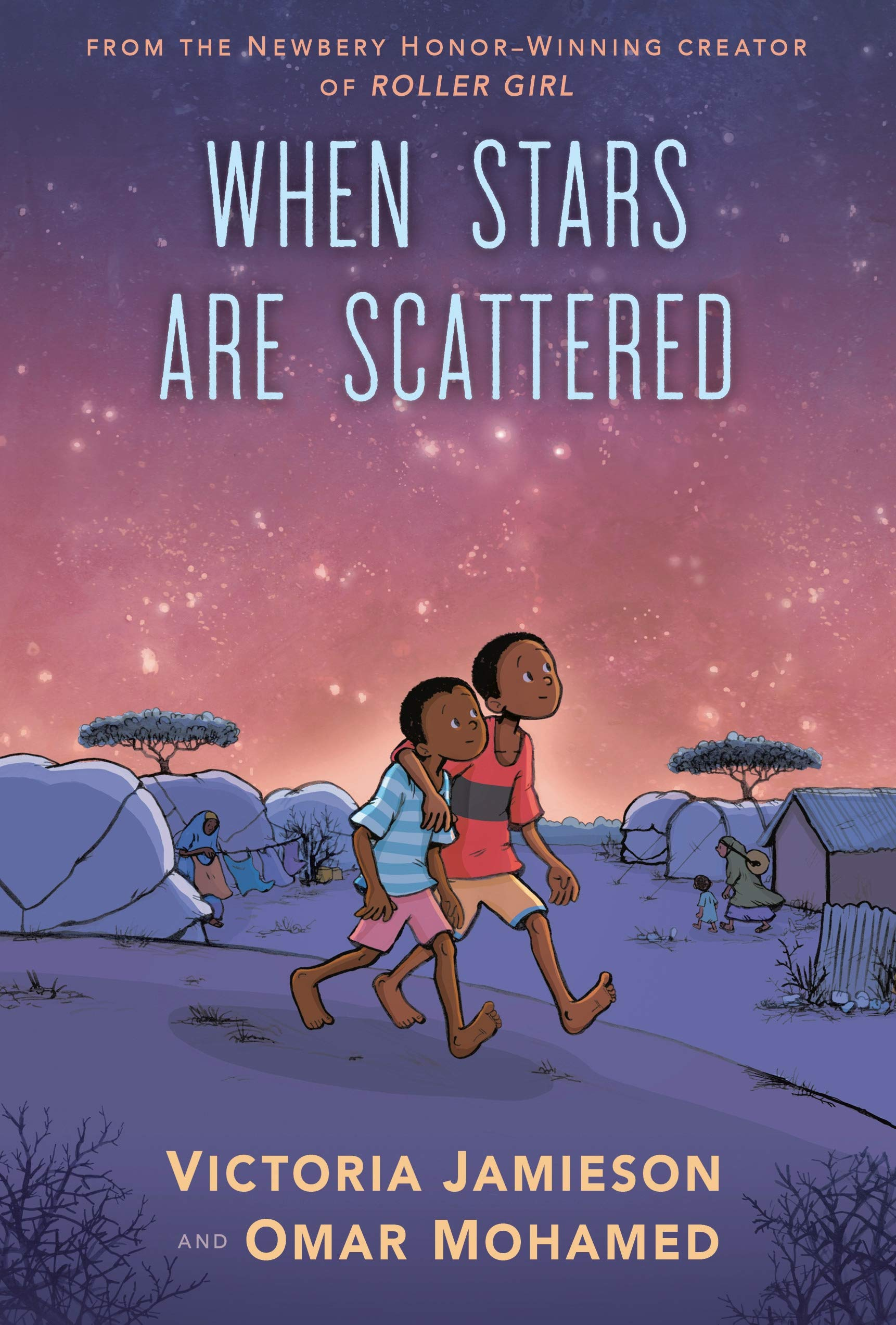 "Book cover for ""When Stars Are Scattered"" shows two people walking under a night sky"