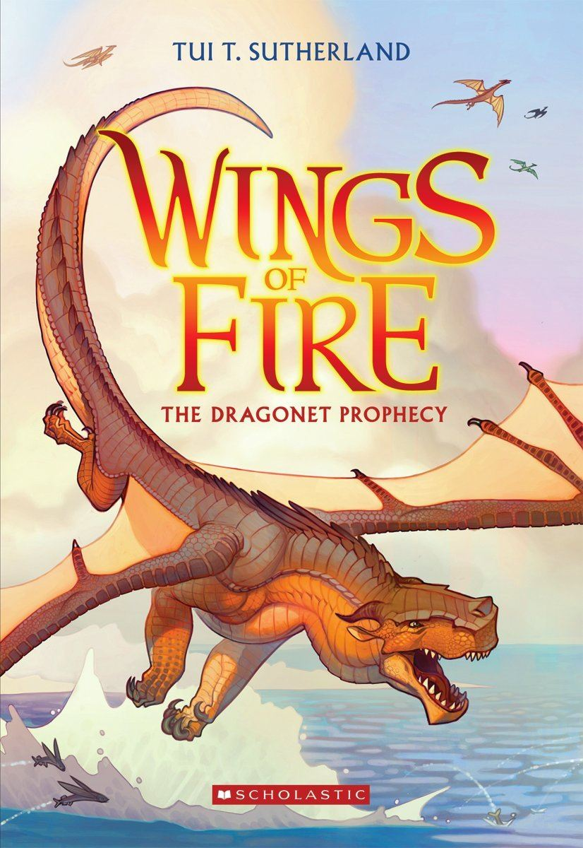 "Book cover for ""WINGS OF FIRE Vol. 1 The Dragonet Prophecy"" shows a dragon flying over water"