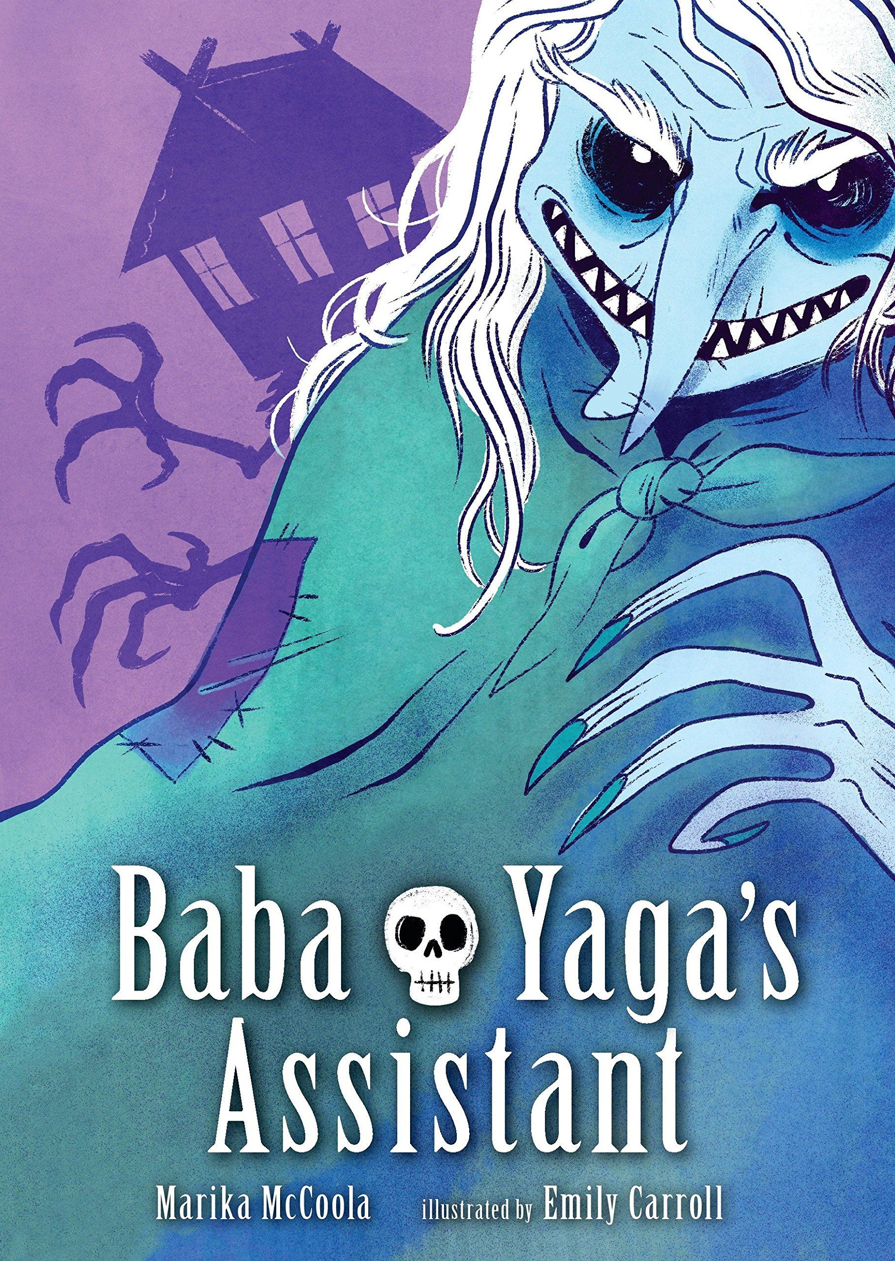 "Book cover for ""Baba Yagas Assistant"" shows a blue monster-person with long fingers"