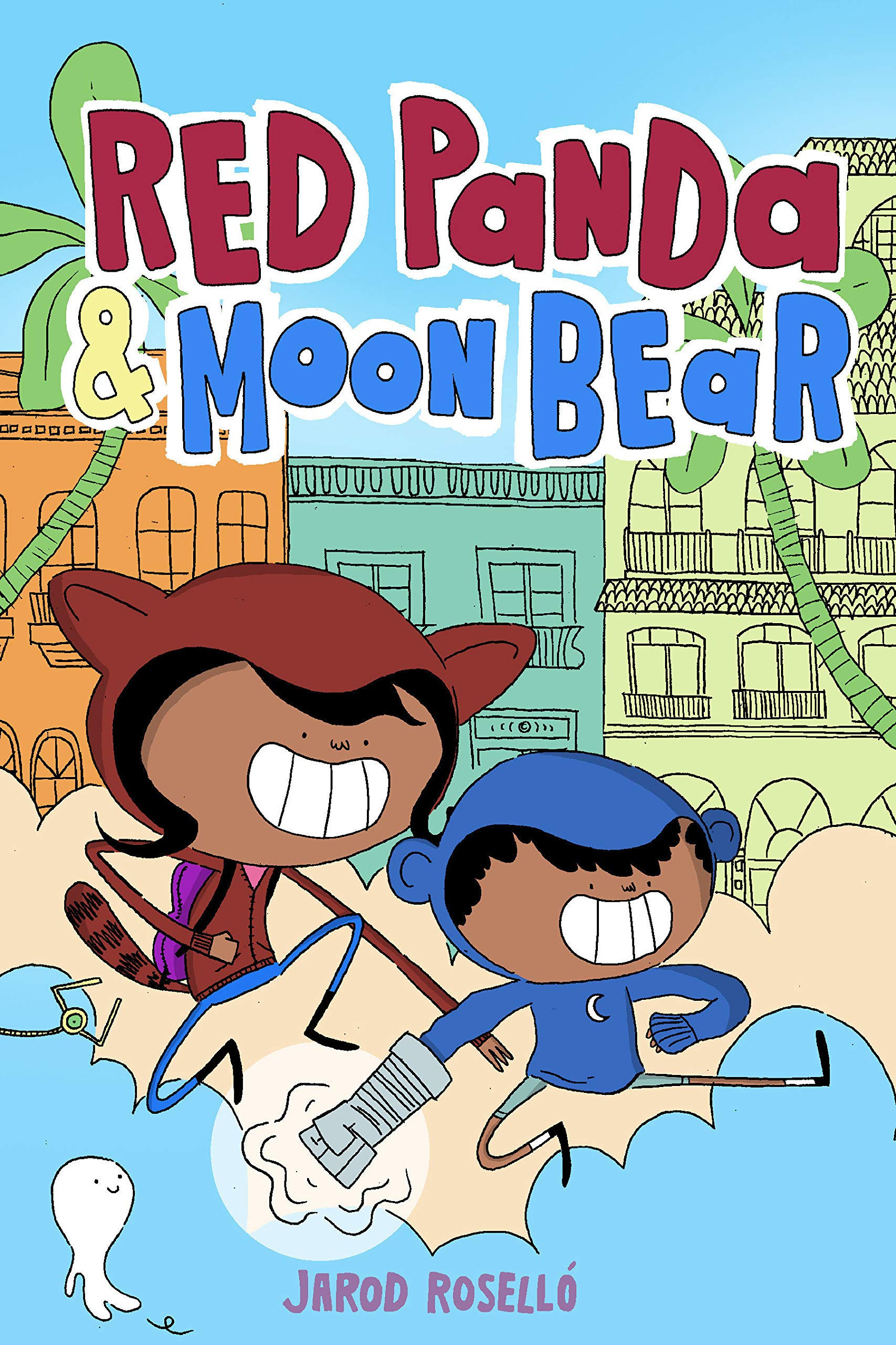 "Book cover for ""Red Panda and Moon Bear"" shows two children running"