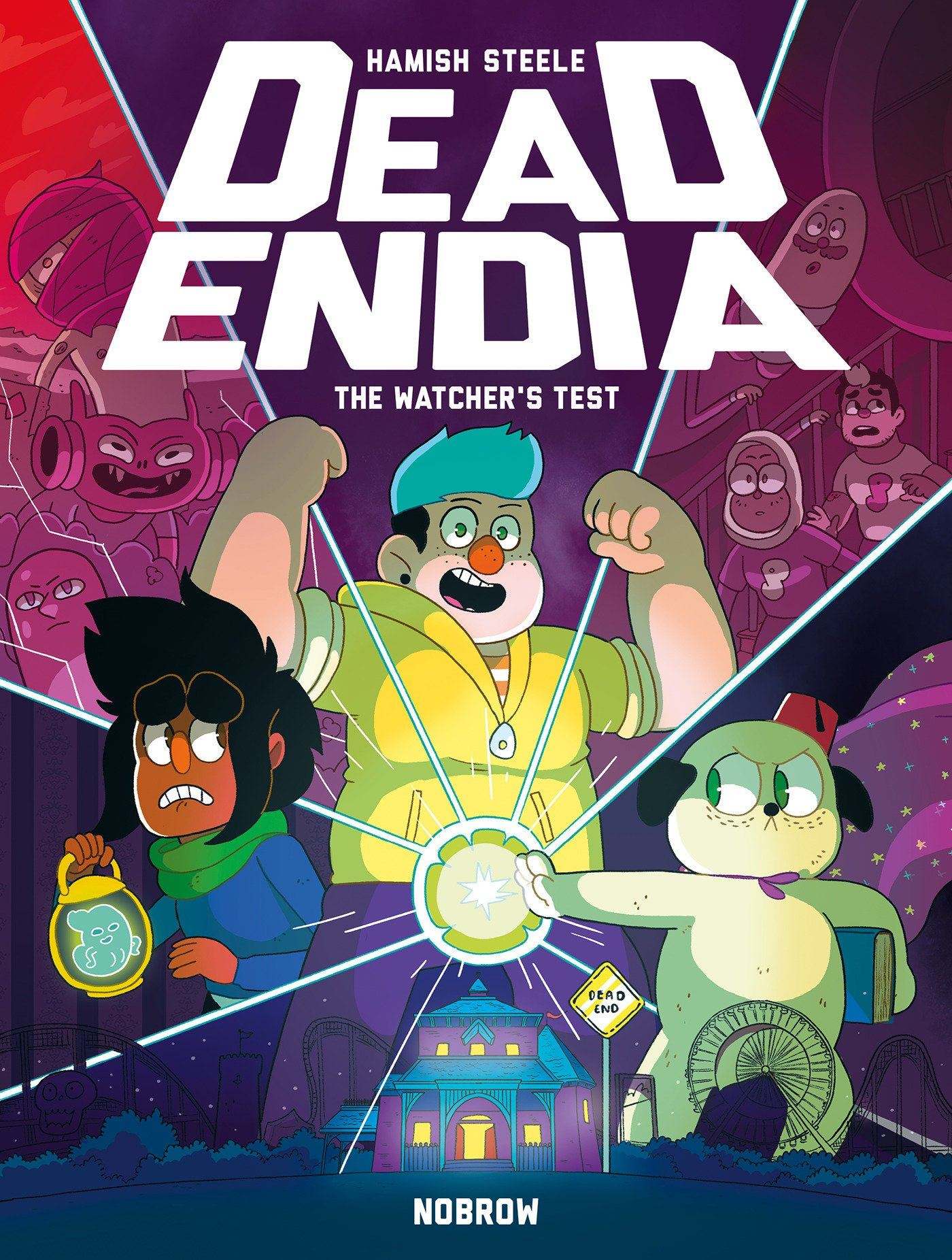 "Book Cover For ""Deadendia The Watchers Test"" shows three people around a glowing orb"