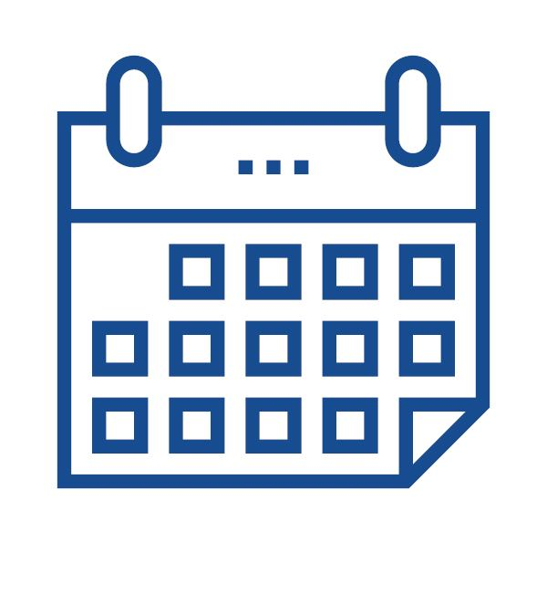 A blue calendar icon with boxes showing days of the month.