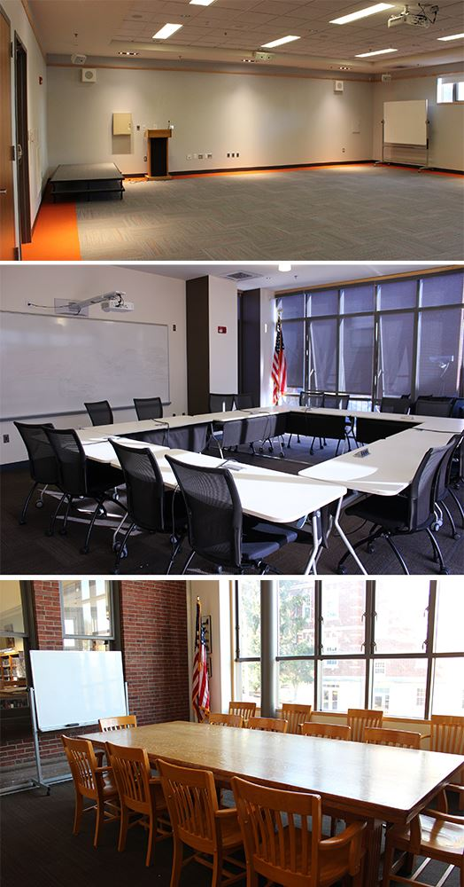 Three photos of meeting rooms