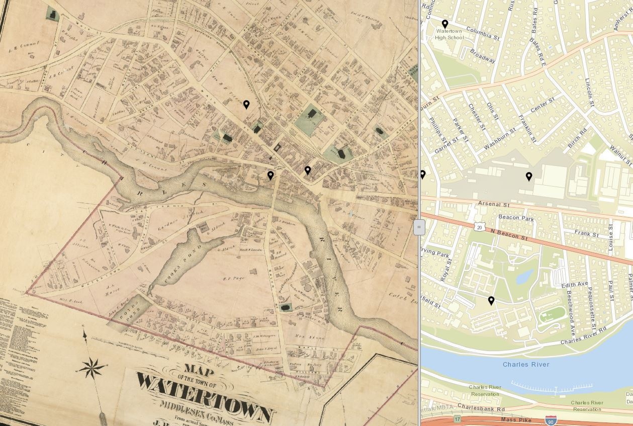Image of an antique map superimposed over a modern street map.