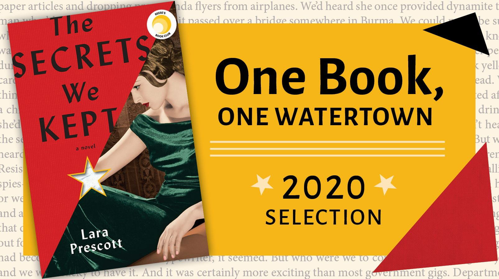 "Banner shows the cover of the book The Secrets We Kept by Lara Prescott with the text, ""One Book,"